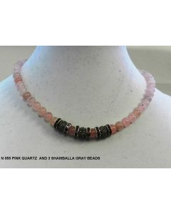 N 055 PINK QUARTZ WITH 3 SHAMBALLA GRAY BEADS