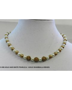 N 066 WHITHE AND GOLD PEARLS  WITH GOLD SHAMBALLA BEADS