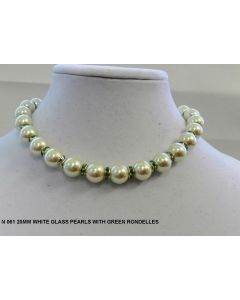 N 060 iWHITE PEARL  WITH GREEN  CRYSTAL
