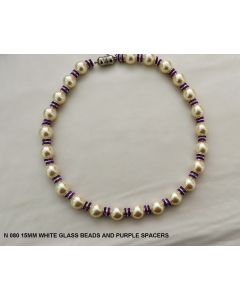N 080 15 MM WHITE PEARLS WITH PURPLE SPACERS